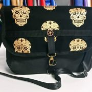 Gold Sugar Skulls Messenger Bag