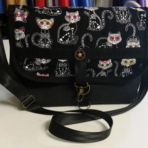 Sugar Skull cats MEssenger BAg